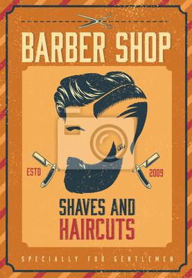 Friseur Geschäft Plakat Leinwandbilder Bilder Hipster Bärtigen