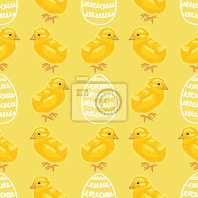Frohe Ostern Urlaub Nahtlose Muster Mit Niedlichen Küken Und