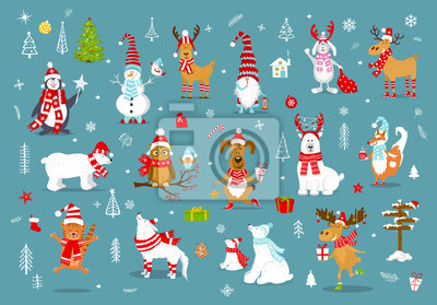 frohe weihnacht guten rutsch ins neue jahr winterkarikatur. Black Bedroom Furniture Sets. Home Design Ideas