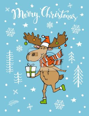 Süße Weihnachtsgrüße.Bild Frohe Weihnachten Süße Grußkarte Mit Lustigen Elch Hirsch Läuft