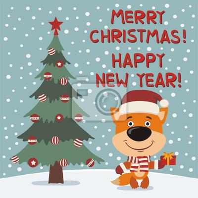 Frohe Weihnachten Lustige Bilder.Bild Frohe Weihnachten Und Ein Gutes Neues Jahr Lustige Fuchs Mit
