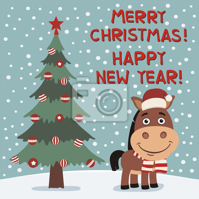 Frohe Weihnachten Und Ein Gutes Neues Jahr Lustige Pferd In