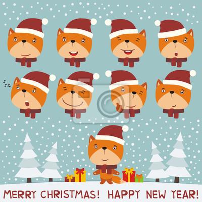 Frohe weihnachten und frohes neues jahr! set gesicht fuchs für ...