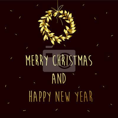 Frohe Weihnachten Und Happy New Year.Bild Frohe Weihnachten Und Happy New Year Kranz Mit Goldenen Blättern