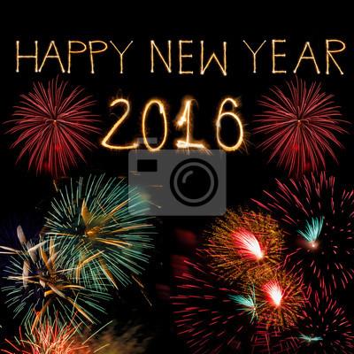 Frohes neues Jahr 2016 geschrieben mit Sparkle Feuerwerk auf der Dunkelheit