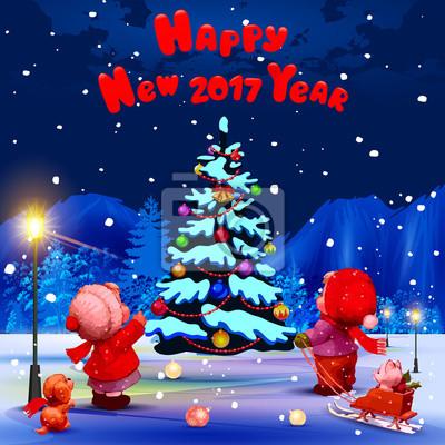 Frohes Neues Jahr Herzlichen Glückwunsch Auf Englisch Illustration