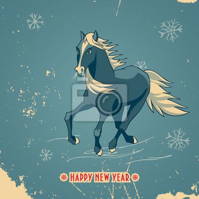 Frohe Weihnachten Pferd.Bild Frohes Neues Jahr Vintage Karte Mit Blauen Pferd