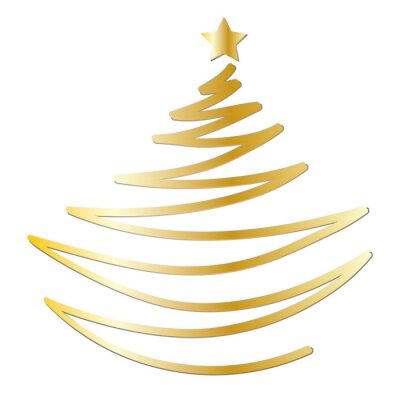 Stern Weihnachten.Bild Fröhliche Weihnachten Goldener Tannenbaum Mit Stern