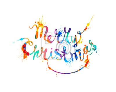 Fröhliche weihnachten. hand schreiben spritzer farbe leinwandbilder ...