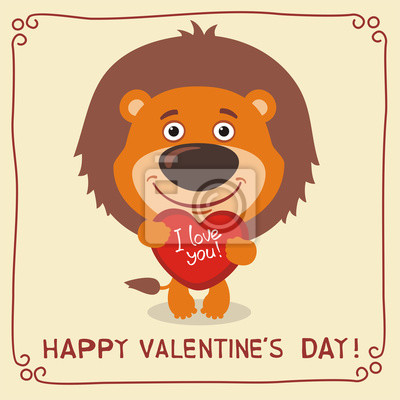 Frohlichen Valentinstag Ich Liebe Dich Lustige Lowe Mit Herz