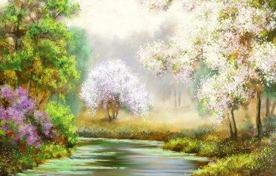 Bild Frühling, Baum, Fluss, Gemälde Landschaft