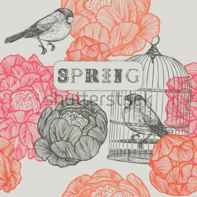 Bild Frühling Hintergrund Vögel und Käfige. Nahtloses Muster