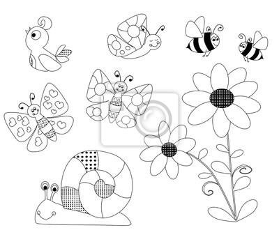 Frühling Malvorlagen Für Kinder Vektoren Illustration Mit Einer