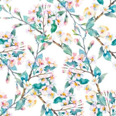 Bild Frühling pattern.Flowering Zweige. Aquarell. Vektor.