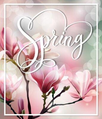 Bild Frühling Text mit Blüten-Brunch von Magnolia mit verschwommene Wirkung. Frühling Hintergrund. Vorlage Vektor.