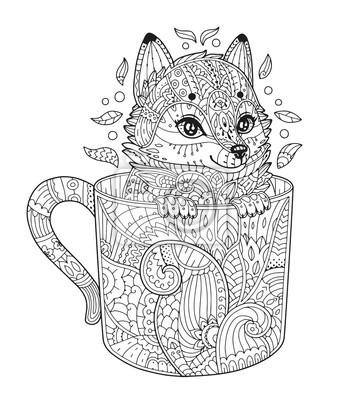 Bild Fuchs In Der Tasse Adult Antistress Malvorlage Mit Tier In Zentangle Stil