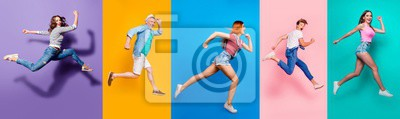 Bild Full length body size view photo portrait collage of running sporty people in striped T-shirt overalls looking in front striving progress active life isolated on bright colorful different background