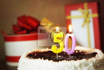 Funfzig Jahre Geburtstag Kuchen Mit Brennenden Kerzen Und