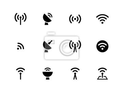 Funkturm Symbole auf weißem Hintergrund.