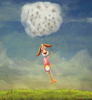 Funny Hund auf Löwenzahn in den Himmel