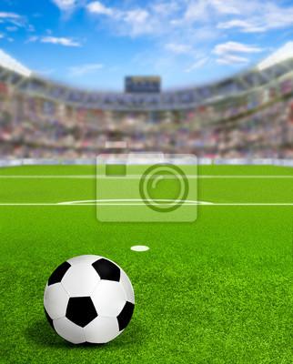 Fußball-Arena mit Ball auf Feld und Textfreiraum