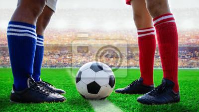 Fußball Fußball steht für Start Kick Off das Spiel im Stadion