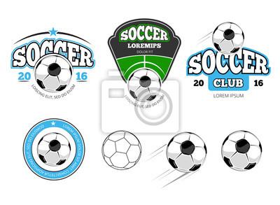 Bild Fußball, Fußball-Vektor-Etiketten, Embleme, Logos und Abzeichen. Sportfußball, Ball für Fußballfußball, Mannschaftsfußball, Spielfußball, Spielfußballabbildung