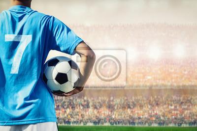 Fußball Fußballspieler im blauen Team-Konzept Betrieb Fußball