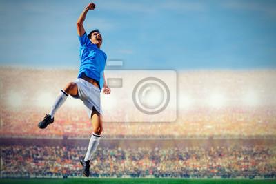 Fußball Fußballspieler in blau Teamkonzept feiern Ziel in