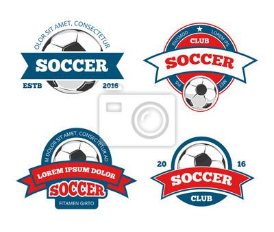 Bild Fußball-Logo-Vorlagen. Fußball-Logos oder Fußball-Logos, Sport-Team Abzeichen Identität Vektor Illustrationen