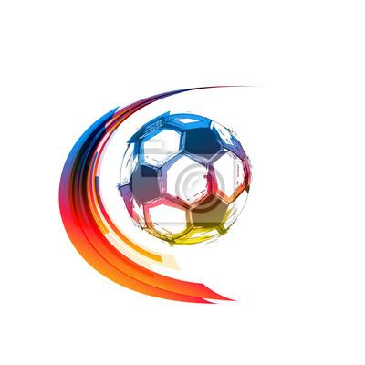Fußball- oder Fußballfarbbälle mit Bewegungspfaden