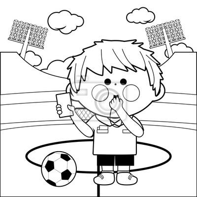 Fußball-schiedsrichter im stadion. malvorlage leinwandbilder ...