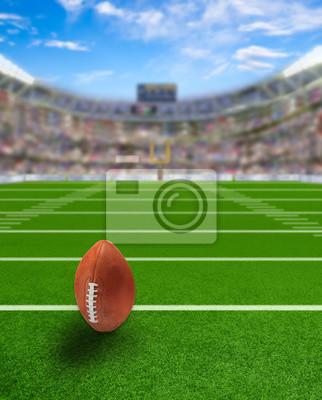 Fußballstadion mit Ball auf Feld und Textfreiraum