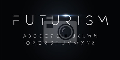 Bild Futurism style alphabet. Thin segment line font, minimalist type for modern futuristic logo, elegant monogram, digital device and hud graphic. Minimal style letters, vector typography design.