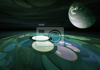 Bild Futuristic alien landscape. View of alien planets from the surface.