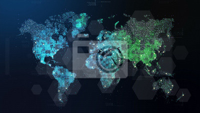 Bild Futuristic global 5G worldwide communication via broadband internet connections between cities around the world with matrix particles continent map for head up display background