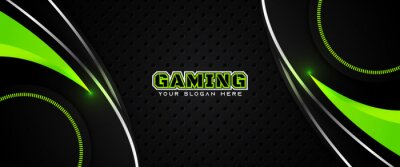 Bild Futuristic green abstract gaming banner design template with metal technology concept. Vector illustration for business corporate promotion, game header social media, live streaming background