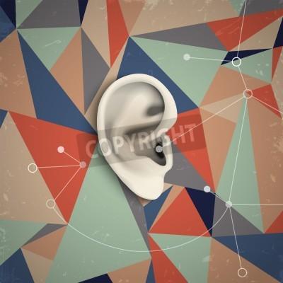 Bild Futuristic Grunge Hintergrund mit Ohr. Vektor-Illustration