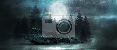 Bild Futuristic night landscape with abstract forest landscape. Dark natural forest scene with reflection of moonlight in the water, neon blue light. Dark neon circle background, dark forest, deer.