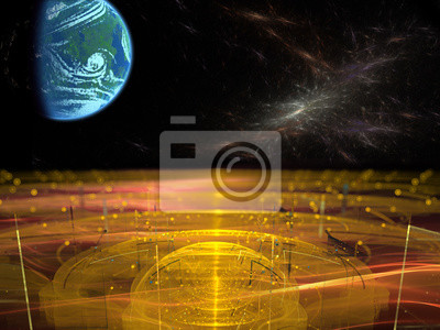 Bild Futuristic space landscape. View from an alien planet. Concept of science, space exploration and space travel. 3d illustration.