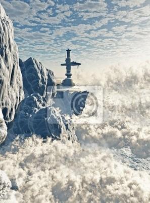 Futuristische Berg Outpost in den Wolken