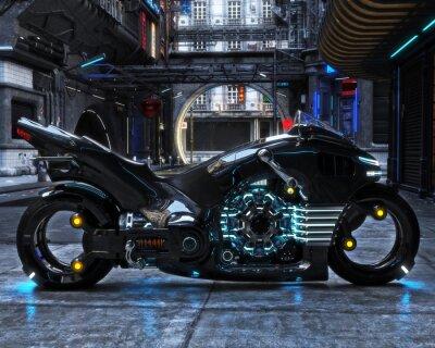Bild Futuristischer Lichtzyklus auf dem Display. Motorrad wird mit einem futuristischen städtischen background.3d Rendering angezeigt