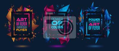 Bild Futuristischer Rahmen-Kunst-Entwurf mit abstrakten Formen und Tropfen der Farben