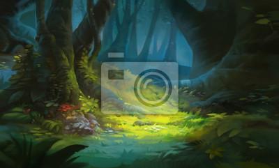 Bild Game Art Fantasy Forest Environment. Digital CG Artwork, Concept Illustration, Realistic Cartoon Style Scene Design