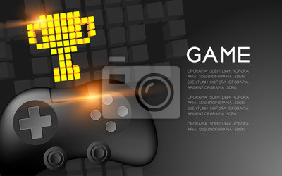 Bild Gamepad or joypad black color with Gold Trophy Cup pixel icon, Game winner concept design illustration isolated on black gradients background, with copy space