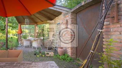 Garten Terrasse Im Mediterranen Stil Leinwandbilder Bilder