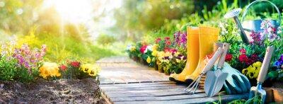 Bild Gartenarbeit - Satz Von Werkzeugen Für Gärtner Und Blumentöpfe Im Sonnigen Garten
