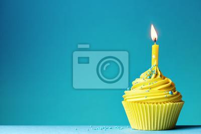 Geburtstag Cupcake Leinwandbilder Bilder Blauem Hintergrund