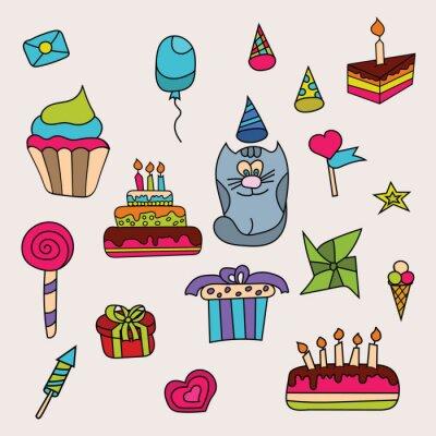 Geburtstag Design Set Cartoon Freie Hand Zeichnen Doodle Vektor