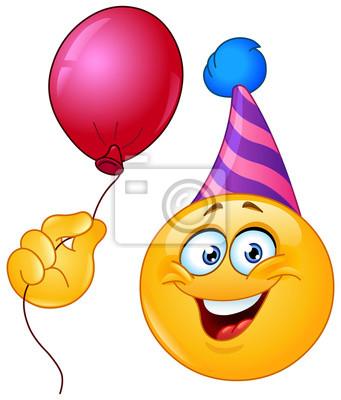 Geburtstag Emoticon Mit Ballon Leinwandbilder Bilder Emoticons